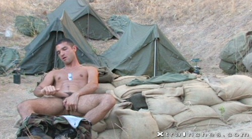 Horny soldier jerking off